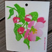 "Swedish screen printed dish washing sponge ""apple blossom""  Kattinatt of Sweden"