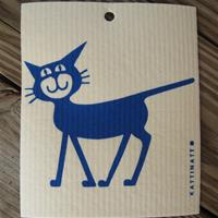 "Swedish screen printed dish washing sponge ""blue cat""   Kattinatt of Sweden"