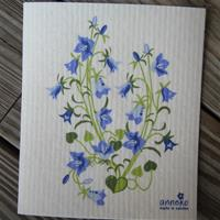 "Swedish screen printed dish washing sponge ""bluebells""  7 3/4"" x 6 3/4"" Anneko of Sweden"