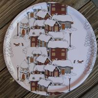 """Christmas scene"" round tray 15"" laminate Arvidssons of Sweden"