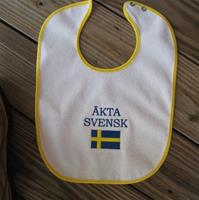 "Baby bib embroidered terrycloth ""Äkta Svensk""  (pure Swedish)  11' x 15"""
