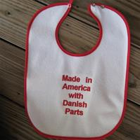"Baby bib ""Made in America with Danish Parts"" embroidered terrycloth 11x 15"""