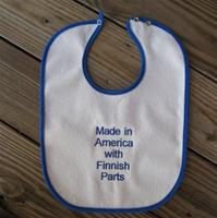 "Baby bib ""Made in America with Finnish Parts"" embroidered terrycloth  11"" x 15"""