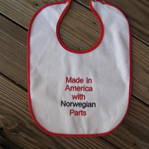 "Baby bib ""Made in America with Norwegian Parts"" embroidered terrycloth 11"" 15"""