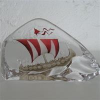 Mats Jonasson Viking Ship Crystal Ice Block