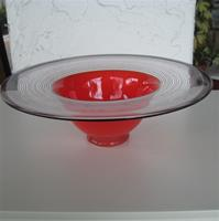 "Flamingo Red Bowl by Wilke Adolphsson, Sweden  10"" diameter x 3.5"" tall"