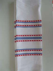 "14"" x 48"" cotton runner Made in Finland red & blue"