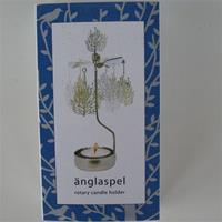 "Angel chimes type candle holder ""Birds in a bush""  6.5"""