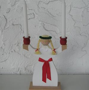 "Lucia Candleholder, painted wood, 11"" tall, includes candles, made in Sweden"