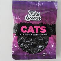 Dutch licorice cats, sweet 15 pc per bag 5.2 oz