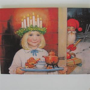 "Box of 12 Christmas cards ""Lucia & Tomte"" Swedish text 7"" x 5"""
