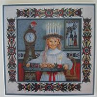"Christmas tile, ""Lucia"" 6"" x 6""  1 LEFT"