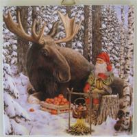 "A Christmas tile, ""Moose and Tomte"", 6"" x 6"""