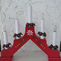 Chistmas Candolier Adam Red 5 Candles, electric
