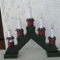 Christmas Candolier Karin 5 Candles, Green/Red electric