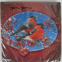 "Christmas beverage napkins with ""Domherrar (Bullfinches) on blue/red background, Pixie design, 3-ply, 20/pkg"