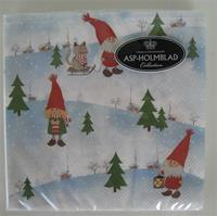 "Christmas luncheon napkins, ""3 Tomtar and a Cat"" motif, 3-ply, 20/pkg  3 LEFT"