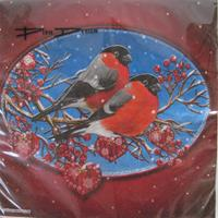 "Christmas luncheon napkins with ""Domherrar (Bullfinches) on blue/red background,, 3-ply, 20/pkg"