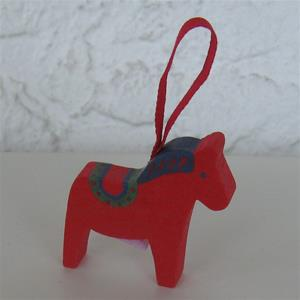 "Dala Horse ornament red, 2"" wood Made in Sweden"