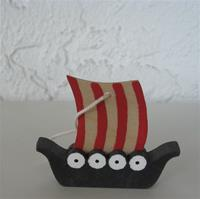 "Viking ship ornament 2.5"" wood"