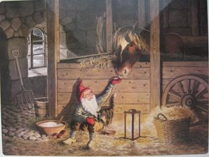 """In the stable"", Christmas placemat, 16"" x 12"""
