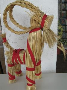 "A Straw Christmas Goat, 14"" tall, 11"" long, made in Sweden"