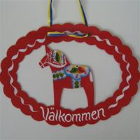 Hand Painted Dala Horse Metal Welcome Sign Red