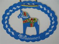 Hand Painted Dala Horse Metal Welcome Sign Blue