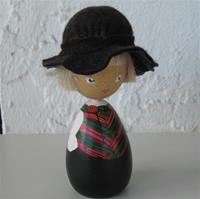 "Handpainted boy doll in folkdress of Bohuslan, 5"" tall, 1 LEFT IN STOCK"