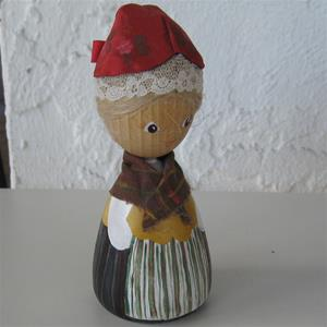 "Handpainted doll in folkdress of By, Dalarna, 5"" tall, 1 LEFT IN STOCK"