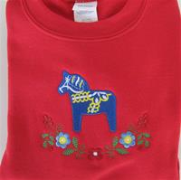 Sweatshirt, red, with embroidered blue Dalahorse, size: L