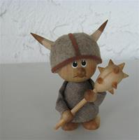 "Viking boy  3.5"" tall wood/cloth  Made in Sweden"