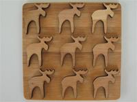 "alder trivet with moose design 6.5"" x 6'5"" Made in Sweden"