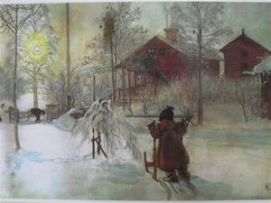 "Carl Larsson placemat "" Yard in Winter"" 18"" x 12"" plastic laminated"