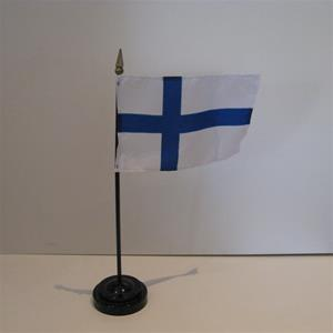 "A FinnishTable Flag in plastic holder, 10"" tall"