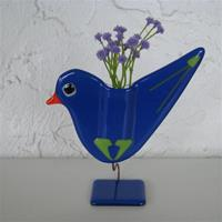 "Blue bird vase by Ebba Krarup of Denmark    6"" x 5"""