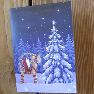"Box of 12 Christmas cards ""tomte on Julbok"" Swedish text"