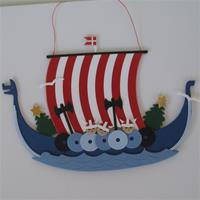 """Christmas Viking Ship"" papercut mobile 4"" x 5.5""  Made in Denmark by Oda Wiedbrecht"