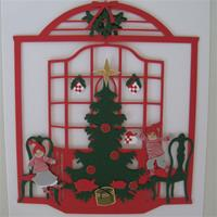"""2 Children & Christmas tree"" papercut mobile  53/4"" x 63/4""  Made in Denmark by Oda Wiedbrecht"