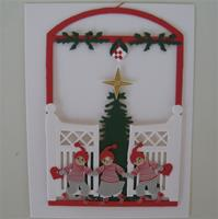 """3 Children & Christmas tree"" papercut mobile 5.5"" x 4""  Made in Denmark by Oda Wiedbrecht"