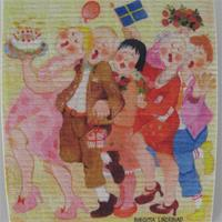 "Swedish screen printed dish washing sponge ""birthday - Med en enkel tulipan""  Birgitta Lindeblad   7"" x 73/4"""
