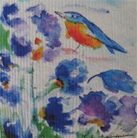 "Swedish screen printed dish washing sponge ""bluebird w flowers""  Lena Linderholm  7"" x 73/4"""