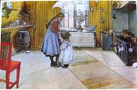 "Carl Larsson placemat "" In the Kitchen""  18"" x 12""  plastic laminated"