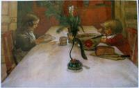 "Carl Larsson placemat "" Breakfast Table""  18"" x 12""  plastic laminated"