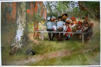 "Carl Larsson placemat "" Breakfast under the Birches""  18"" x 12""  plastic laminated"