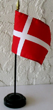 "A Danish Table Flag in plastic holder, 10"" tall"