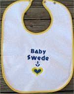 "Baby bib ""Baby Swede"" embroidered terrycloth 11"" x 15"""