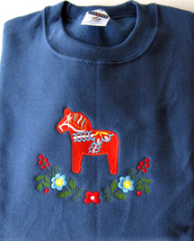 Sweatshirt, blue, with embroidered red Dalahorse, size: XL