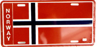 Norwegian flag license plate