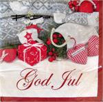 "Christmas beverage napkins with ""God Jul"" motif, 3-ply, 5"" x 5"", 20/pkg"